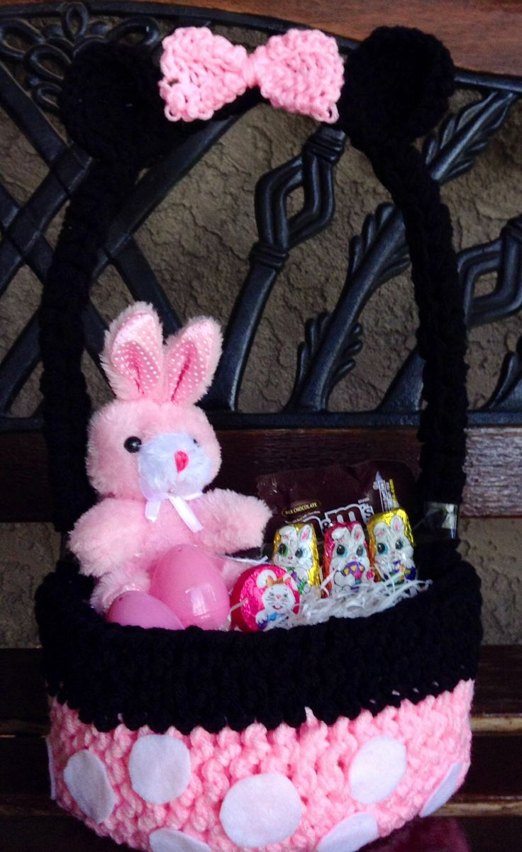 Minnie Mouse Crochet easter basket available on https://www.facebook.com/CrochetingSweetie