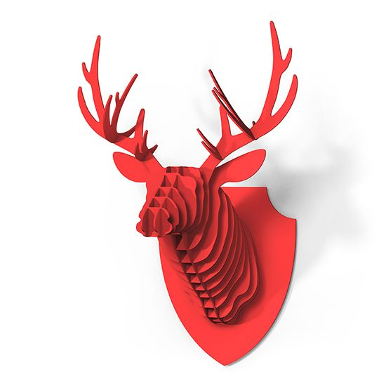 red deer hunting trophy to hang on the wall animal deer stag head colour red shield colour red kit the kit consists of 22 pieces in a cardboard box with