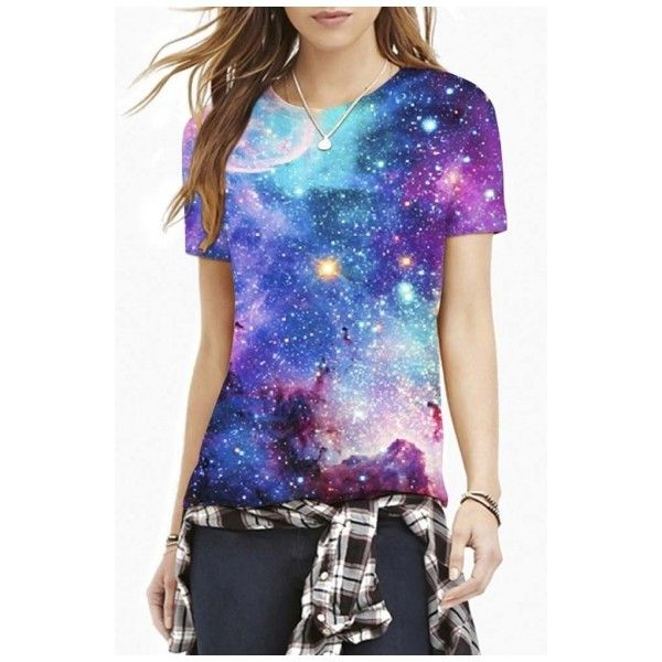 Blue Galaxy Print Round Neck Short Sleeve Slim Tee (27 CAD) ❤ liked on Polyvore featuring tops, t-shirts, round neck t shirt, short sleeve tops, short sleeve tee, galaxy tee and graphic design t shirts