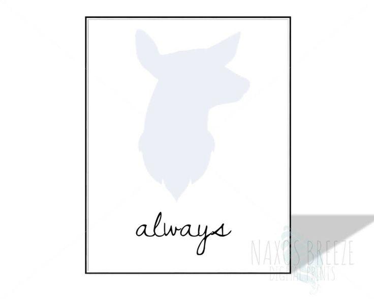 HP Always Doe PRINTABLE fan art,gift for HP fans,nursery wall decor,Harry Potter wall art,magic art,gift for kids printable,lily, snape by NaxosBreezePrints on Etsy https://www.etsy.com/listing/519200260/hp-always-doe-printable-fan-artgift-for