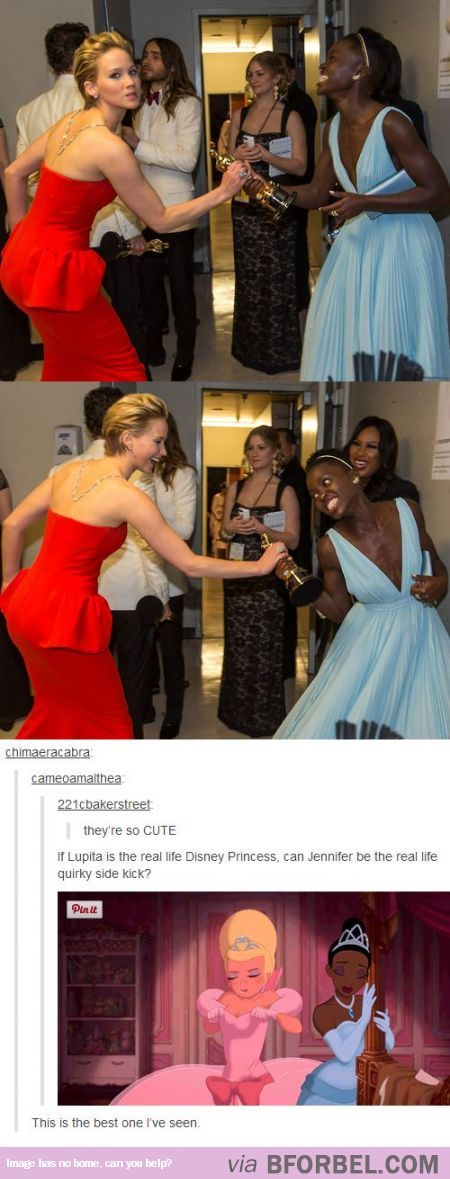 If Lupita is the real life Disney princess, can Jennifer be the real life quirky side kick?