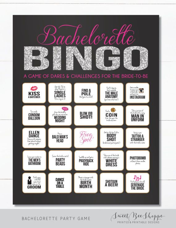 INSTANT DOWNLOAD! Bachelorette Party Game: Printable Bachelorette Bingo Game (Glitter Version)  Looking for a fun game for a bachelorette party or hens party, but dont have the time to create something yourself? This Bachelorette Bingo Dare Sheet is sure to get the party started! Its perfect for a girls night on the town or a weekend-long party.  H O W ⋆ T O ⋆ P L A Y ---------------------------------------------- Print out the Bingo Dare Sheets and get the party started! The bachelorette…