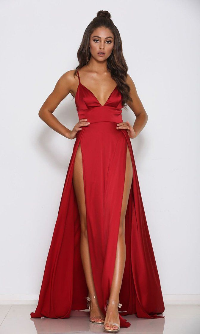 1bed417e9f Ruby Splendor Red Sleeveless Spaghetti Strap V Neck Double Slit Maxi ...