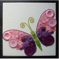 Button Art Pink and Purple Butterfly