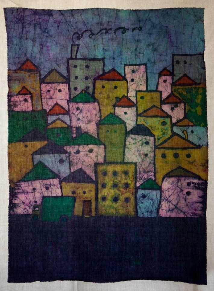"Batik ""Domki""- size A1; Artist: Irena Buchwald ""Manufacture Buchwald"""