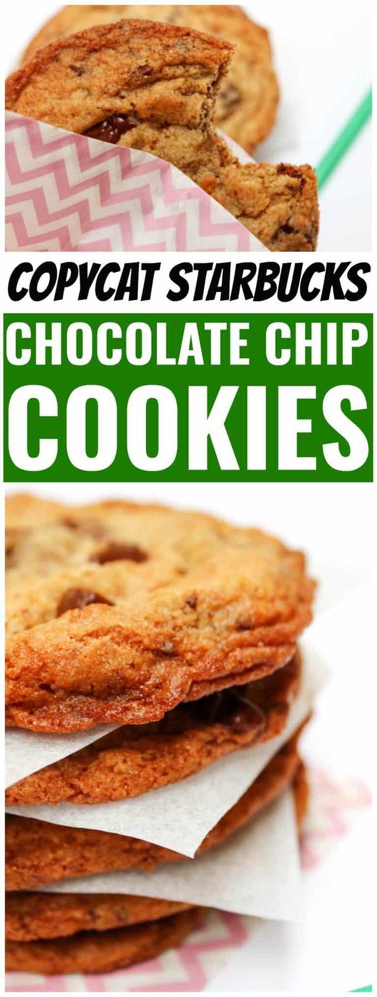 COPYCAT STARBUCKS CHOCOLATE CHOCOLATE CHIP COOKIES - Classic chocolate chip cookies with crisp buttery edges, chewy center and dark chocolate chips. #copycatrecipe #starbucks #dessert #chocolatechipcookies #cookie