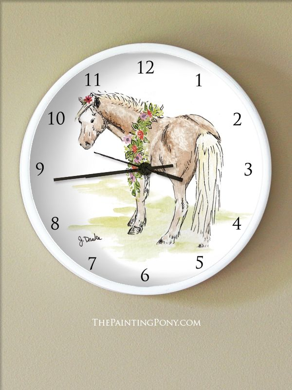 Whimsical Watercolor Pony Art Equestrian Wall Clock - The Painting Pony - cute horse lover bedroom decor