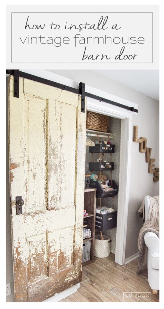 Finally a step-by-step walkthrough on how to install an antique farmhouse barn door! www.tableandhearth.com