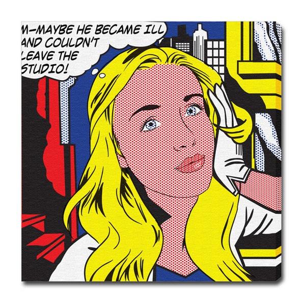 """Ritratto da Foto personalizzato e stampato su tela in stile Lichtenstein come il suo famoso """"M-Maybe""""!"""