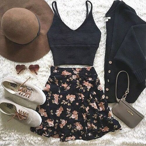 girly flowy fall outfit.. love the oversized hat, floral skirt and black cardigan.