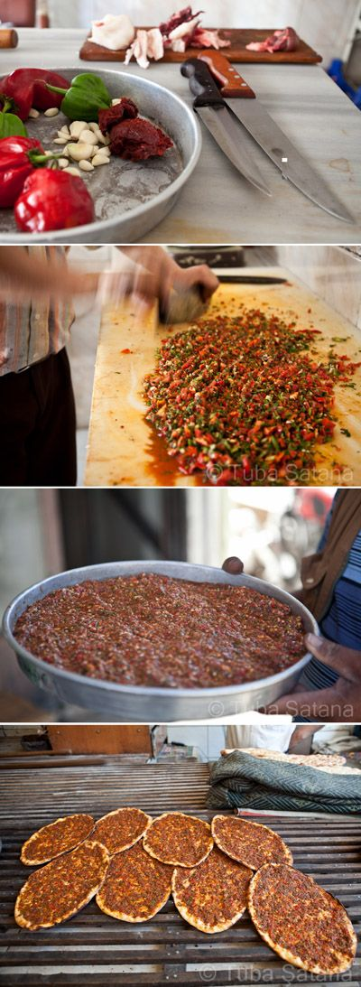 Making Lahmajun (thin dough topped with minced meat, vegetables and herbs