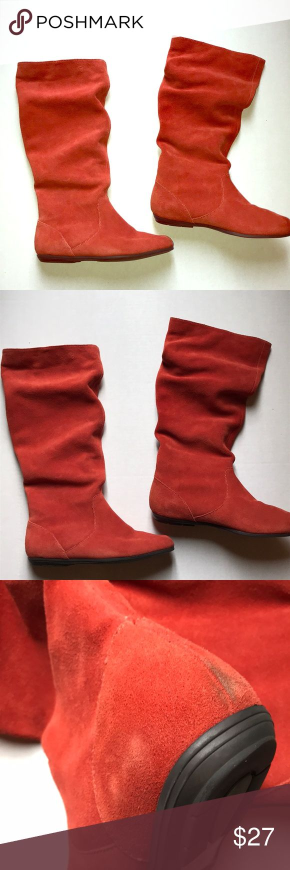 Colin Stuart orange suede slouch boots 8 Very cute orange suede slouch boots by Colin Stuart are fabulous. Great fall color. They are in really good condition. They do show a few signs of wear as pictured. Some scuffs but nothing that takes away from the Beauty. They have a vintage feel. Very trendy now. Colin Stuart Shoes Heeled Boots