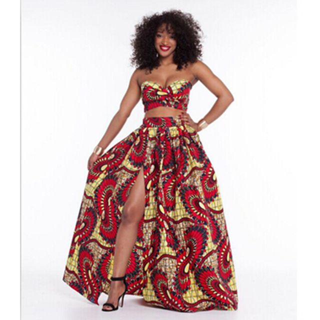 Traditional Dashiki African Print Dresses 2 Pieces Midriff-baring Rube Tops + Dress Set Women Sexy High Slip Long Party Dress