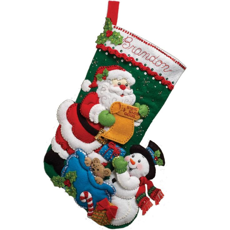 "Santa's List Stocking Felt Applique Kit-18"" Long (046109863603) BUCILLA-Felt Applique Kit. This set offers a great holiday design that will make your house look great when you have guests over. This package contains stamped felts; cotton floss; metallic thread; color separated sequins and beads; needles; instructions and directions for personalization. Design size: 18 inches. Design: Santa's List Stocking. Made in USA."