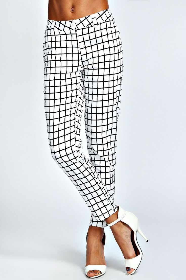 checked black & white trousers