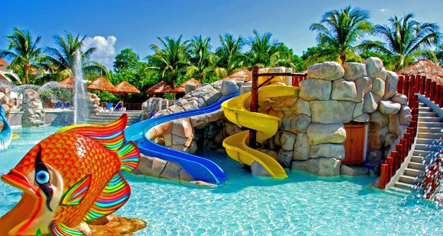 Sandos Caracol Eco Resort and Spa. 9.3 This one would be great for the kids. 2 Pools and aqua park for children with 17 slides and water games. 5 Restaurants including 4 a la Carte. 8 Bars including 1 Swim up bar, 1 Sports Bar and 1 Snack Bar.  sandosrental@yahoo.com