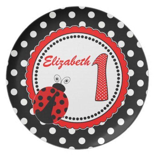 Cute Ladybugs 1st Birthday Keepsake Plate