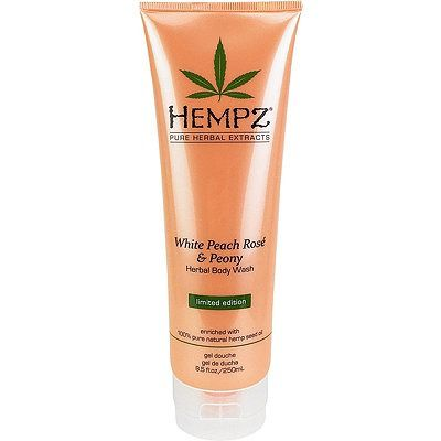 Hempz White Peach Rosé & Peony Herbal Body Wash is enriched with 100% Pure Natural Hemp Seed Oil and blended with ultra mild cleansers to help restore smoothness, softness and hydration with every bath or shower.