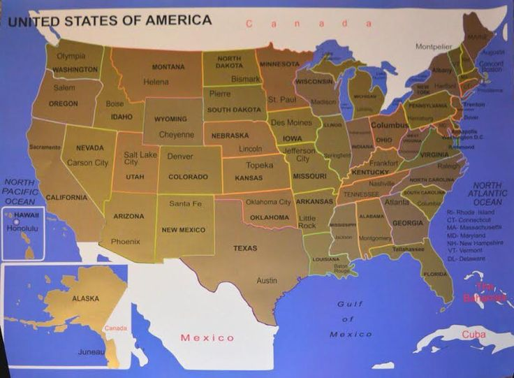 Scratch map of United States and the