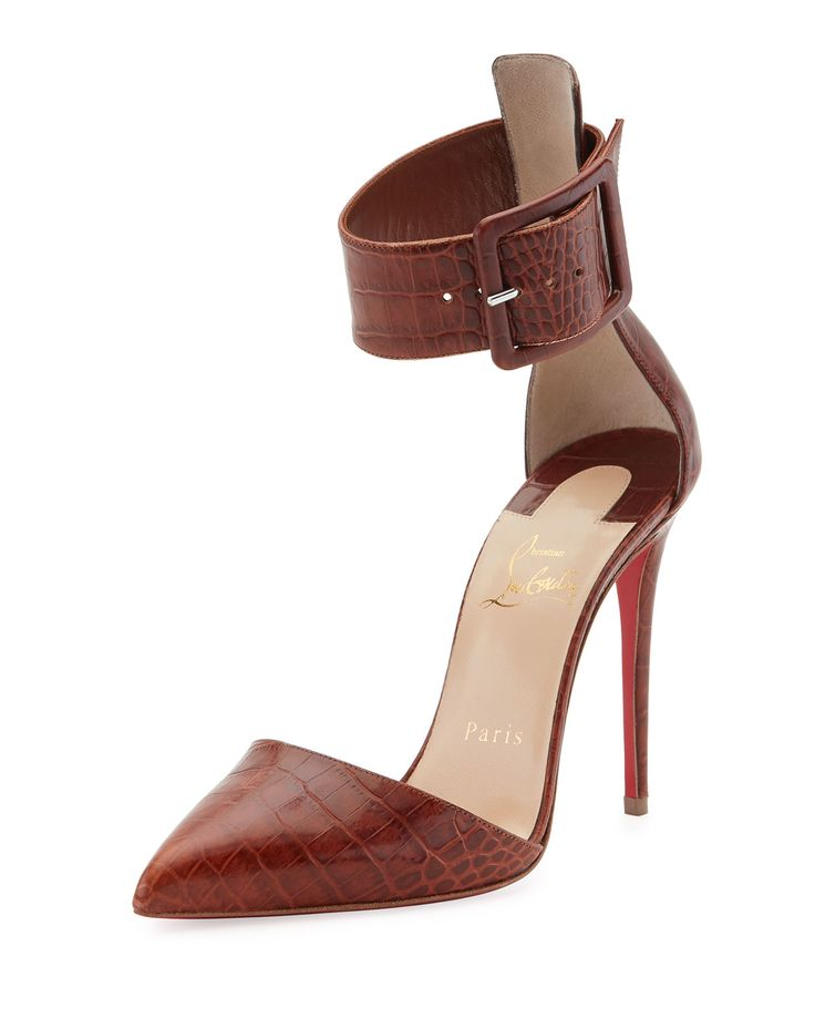Harler Snake-Embossed Leather Red Sole Pump, Brown by Christian Louboutin  at Neiman Marcus.