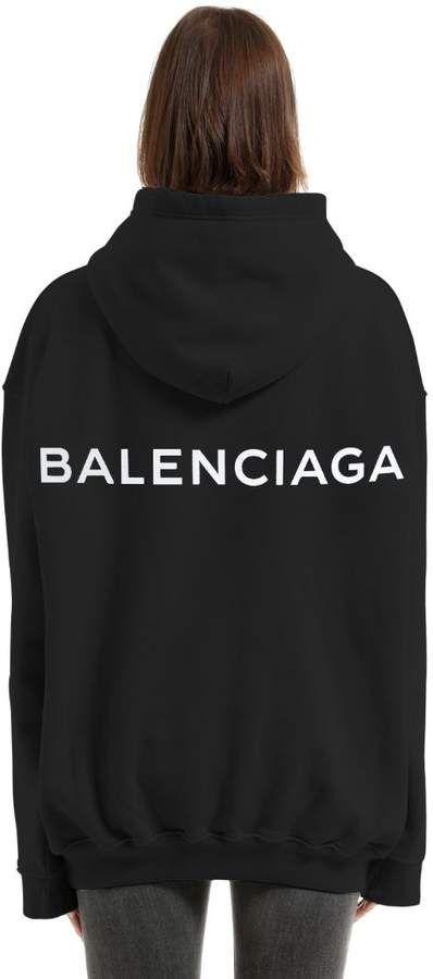 9ecef03c Logo Printed Hooded Cotton Sweatshirt   FASHION   Balenciaga, Black ...