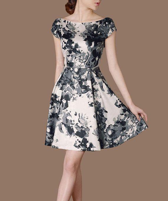 Plus size Summer Dress Artistic Splashing Ink Painting Printing Dresses O Neck A line Dress Elegant Ethnic Style