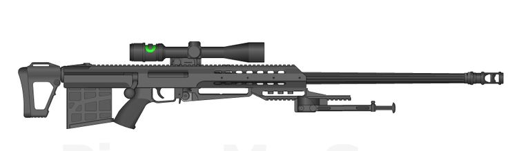 Rate Of Fire: 100 Rounds Per Minute Caliber: 50BMG Muzzle Velocity: 901 Feet Per Second Effective Range: 2000 Meters The MX-G6 is an Anti Material Rifle made by MX Fire Arms. It closely resembles t...