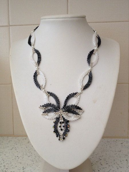 Black and White Seed Bead Motif Necklace by TwinklingGems on Etsy, £35.00