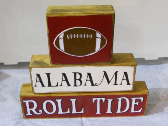 Alabama Football Wooden Block Decor by BreezyBarn on Etsy, $18.95