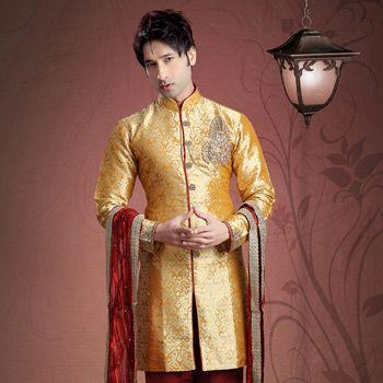 #Orange Art Jacquard #Silk Readymade Kurta with Churidar