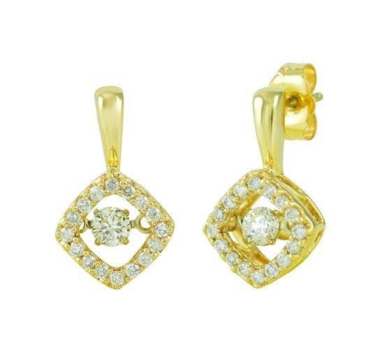 Tilted Dancing Diamond Earrings ~ https://www.touchofgold.com/tilted-dancing-diamond-earrings.html