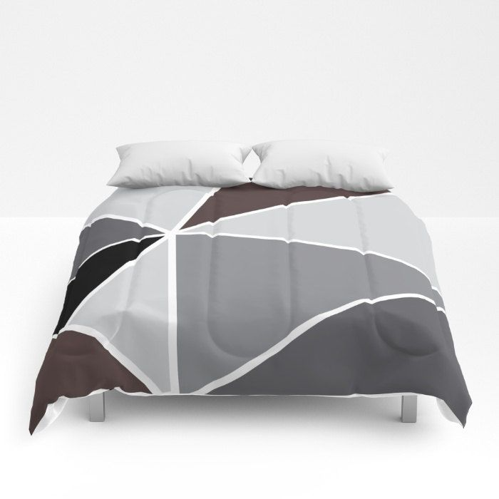 Triangles Comforter - Grey Black Brown and White Bedding - Geometric Bedding - Geometric Comforter - Full Queen King Size Comforter by AldariHome on Etsy