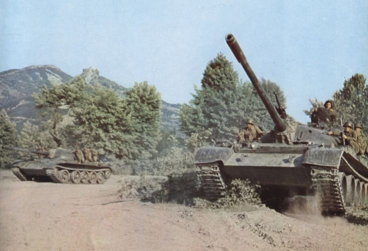 T-55 tanks of the Albanian People's Army on maneuvers.