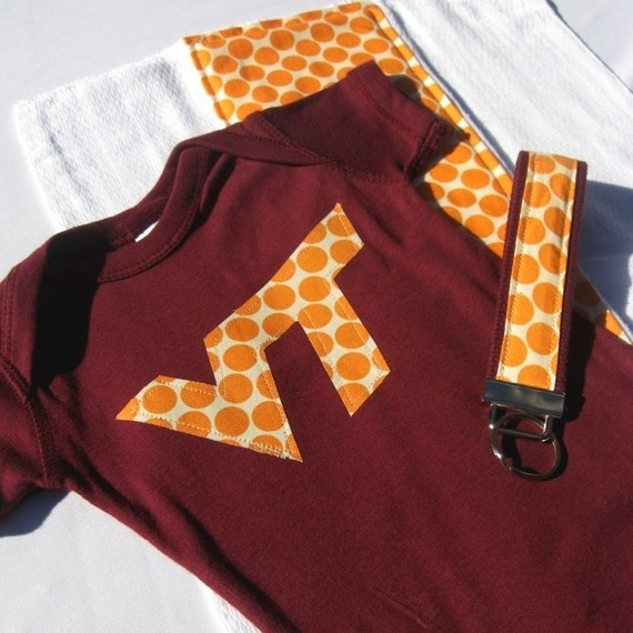 love the Hokies... I need to find a marroon onesie to try this