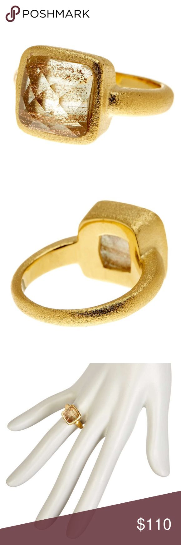 """rivka friedman // 18k gold crystal stacking ring NWT Rivka Friedman 18k gold plated ring with satin finish. Faceted crystal measures 0.5"""" by 0.5"""". Perfect for stacking or worn alone. The ideal neutral ring every fashionista needs in her wardrobe! Size 7. Rivka Friedman Jewelry Rings"""