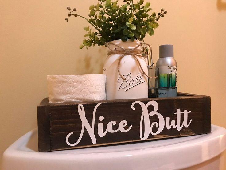 Nice Butt Box, Nice Butt, Décor de salle de bain, Humour de salle de bain, Décor de salle de bain rustique, Porte-papier toilette