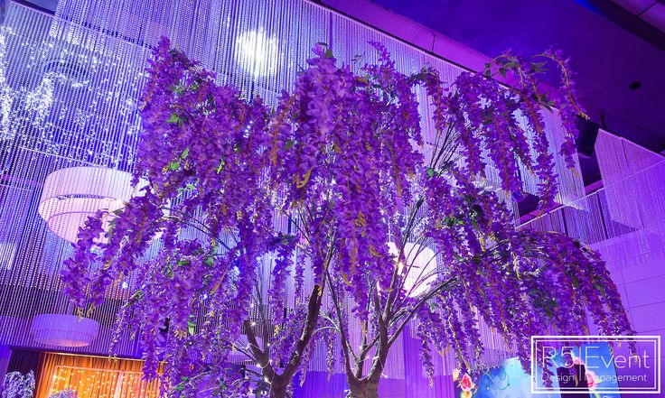 Perfect Purple Wisteria Tree and Chandelier by R5 Event Design