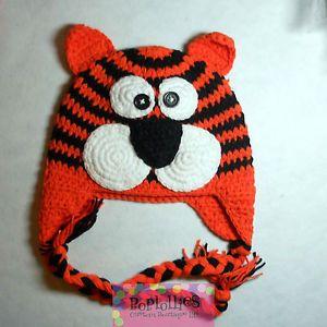 NWT TIGER CROCHET ANIMAL HAT..Photo prop, winter wear ...