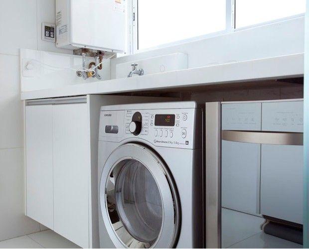 Resultado de imagem para otimizar espaço lavanderia com uma lava e seca