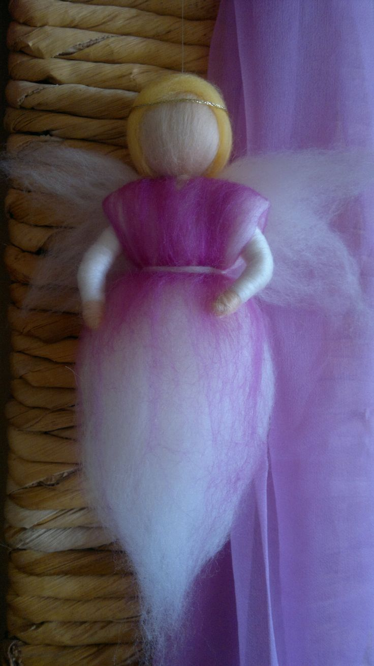 Sweet angel for baby room, personalized gift, eco-friendly, waldorf inspired, roving wool