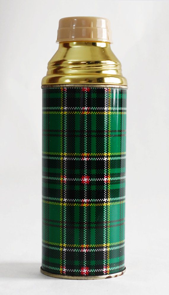 Vtg 60s thermos / retro plaid  tin and plastic by ThriftMachine, kr80.00