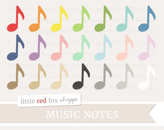 Music Notes Clipart, Music Symbol Clip Art Sheet Class Art Cute Crafting Scrapbooking Label Cute Digital Graphic Design Small Commercial Use