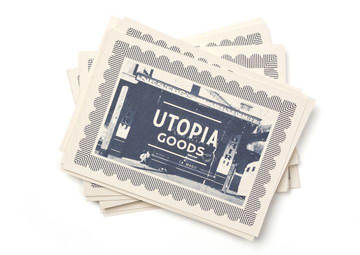 Utopia Goods postcards by Deuce Design.