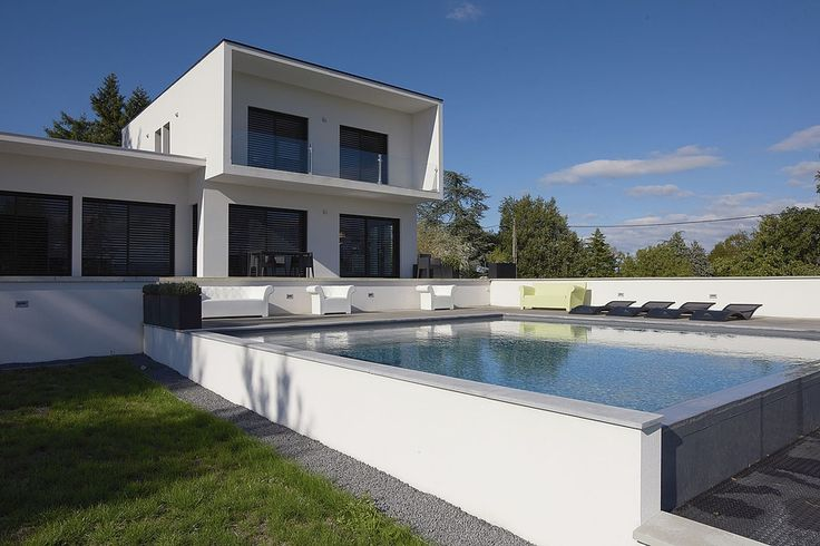 1000 id es propos de piscine semi enterr e beton sur for Piscine carree semi enterree