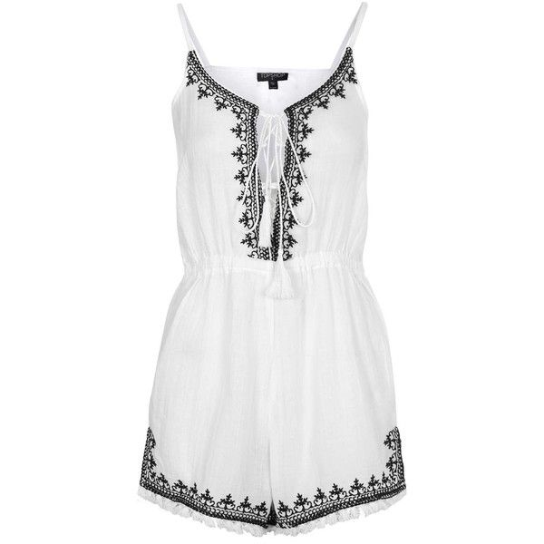 TOPSHOP Embroidered Tassel Playsuit ($68) ❤ liked on Polyvore featuring jumpsuits, rompers, dresses, playsuits, tops, white, jumpsuits & rompers, romper, cotton romper and white jump suit