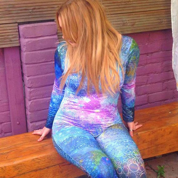 Blue and Purple Mandala Colourful Catsuit Made to Order by Danbine