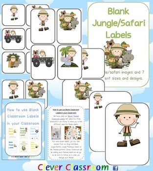 Jungle/Safari Themed Blank Classroom Labels - PDF file - 48 pages, designed by Clever Cla...