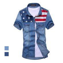 2015 dos homens novos do vintage moda camisa jeans bandeira americana manga curta light blue jeans camisa grátis frete qualidade superior(China (Mainland))