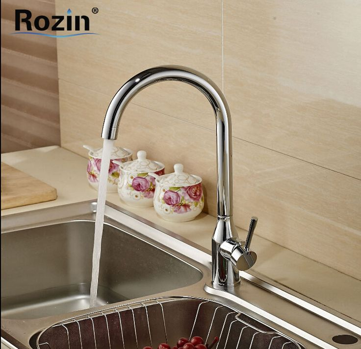 Polished Chrome Goose Neck Rotation Kitchen Sink Mixer Taps Single Lever Hot Cold Water Taps for Kitchen