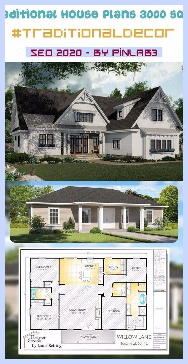 Tropical Decor Traditional House Plans Traditional House Plans 3000 Sq Ft Traditional House Plans Porch House Plans House Plans Traditional House Plans
